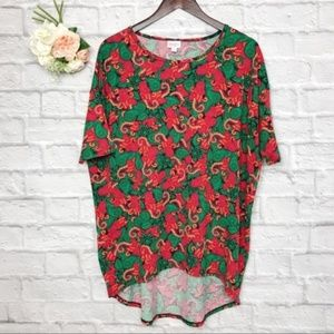 Lularoe Red Green Paisley Print Tunic Top Size S